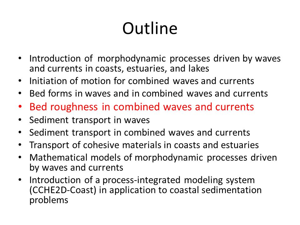 Outline Bed roughness in combined waves and currents