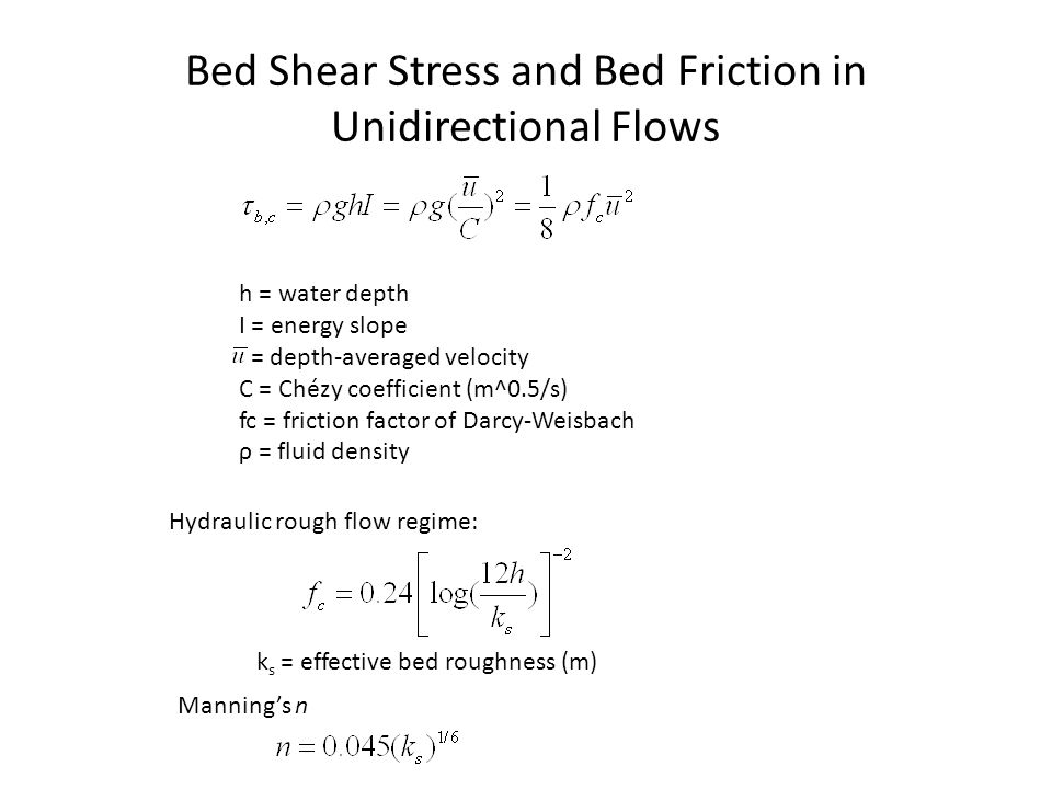 Bed Shear Stress and Bed Friction in Unidirectional Flows