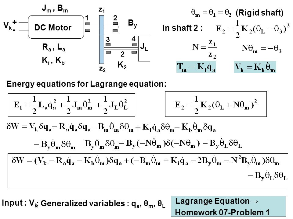 Energy equations for Lagrange equation: