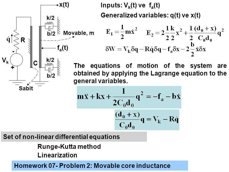 Generalized variables: q(t) ve x(t)