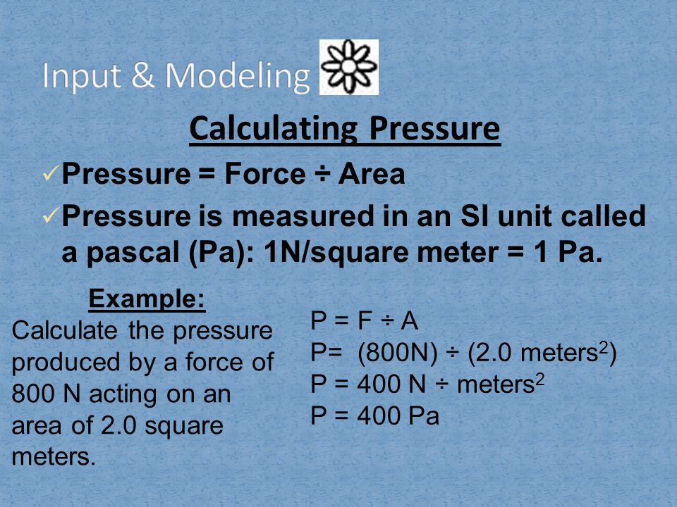 Input & Modeling Calculating Pressure Pressure = Force ÷ Area