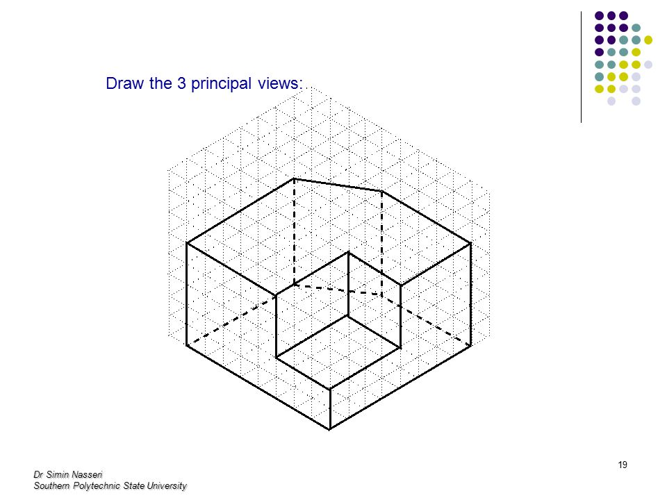 Draw the 3 principal views: