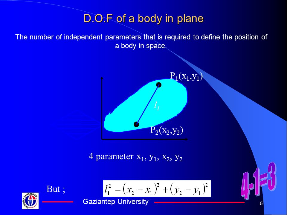 4-1=3 D.O.F of a body in plane P1(x1,y1) l1 P2(x2,y2)