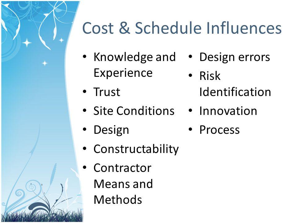 Cost & Schedule Influences