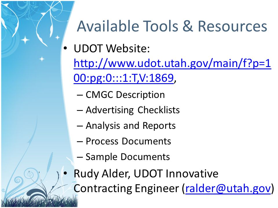 Available Tools & Resources