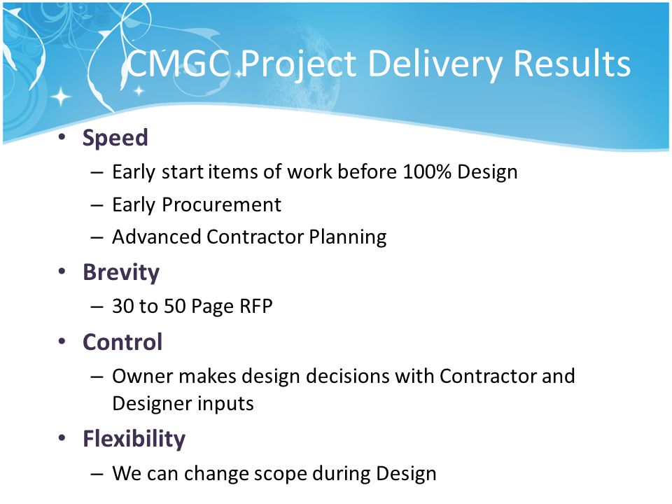 CMGC Project Delivery Results