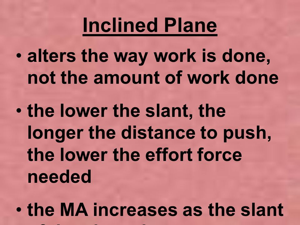 Inclined Plane alters the way work is done, not the amount of work done.