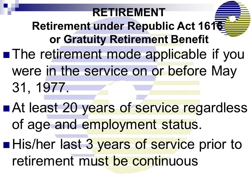 At least 20 years of service regardless of age and employment status.