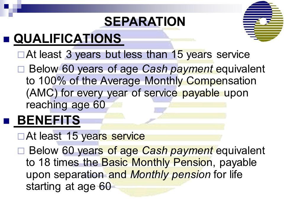 SEPARATION QUALIFICATIONS BENEFITS
