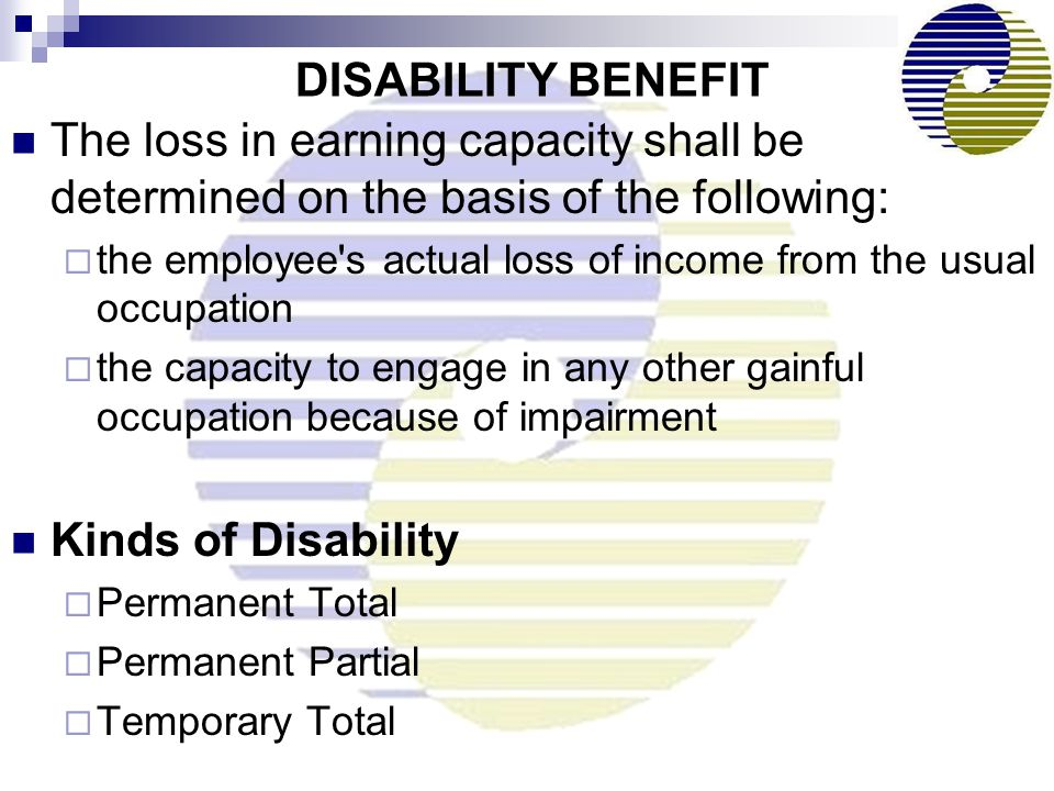 DISABILITY BENEFIT The loss in earning capacity shall be determined on the basis of the following: