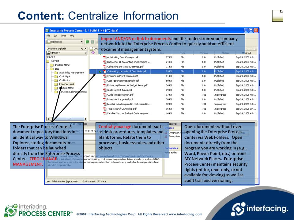 Content: Centralize Information