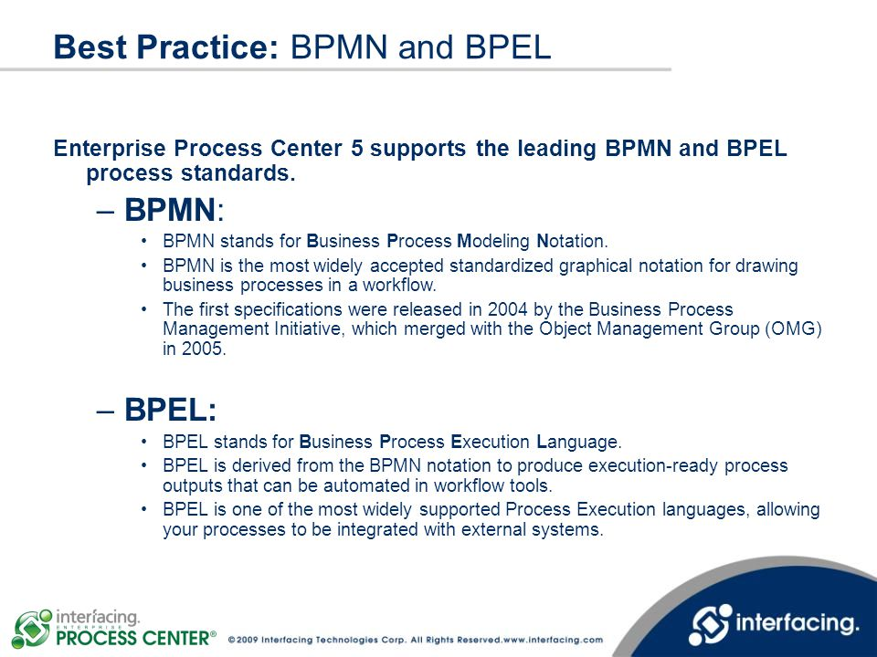 Best Practice: BPMN and BPEL