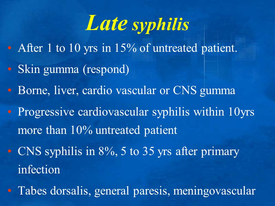 Late syphilis After 1 to 10 yrs in 15% of untreated patient.
