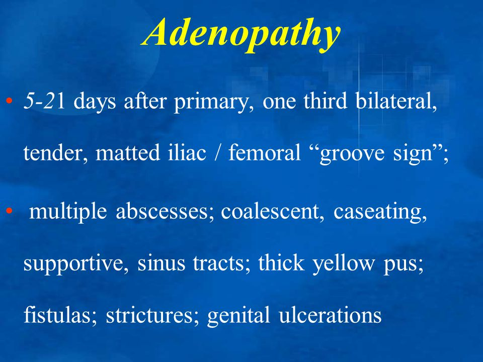 Adenopathy 5-21 days after primary, one third bilateral, tender, matted iliac / femoral groove sign ;