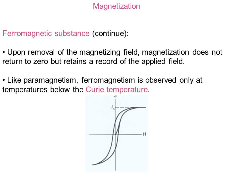 Magnetization Ferromagnetic substance (continue):