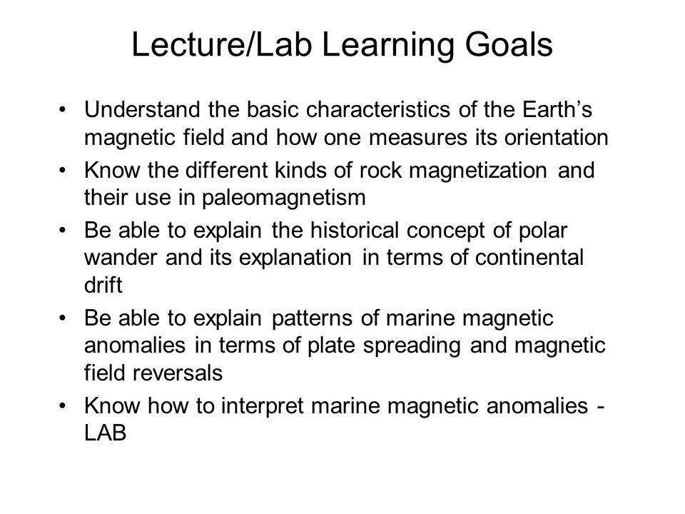 Lecture/Lab Learning Goals