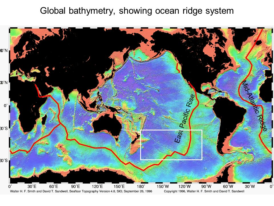 Global bathymetry, showing ocean ridge system