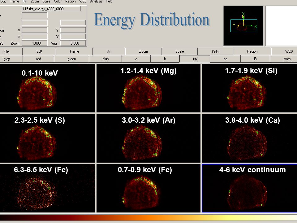 Energy Distribution 1.2-1.4 keV (Mg) 1.7-1.9 keV (Si) 0.1-10 keV