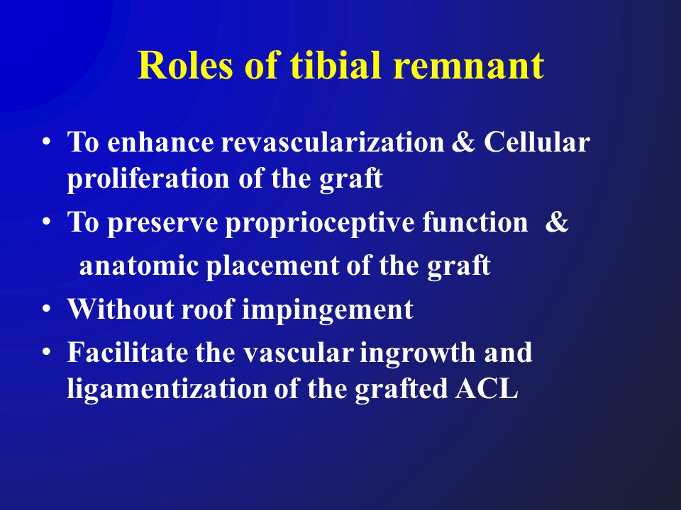 Roles of tibial remnant