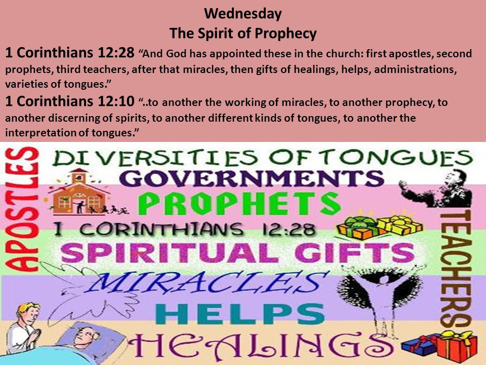 Wednesday The Spirit of Prophecy.