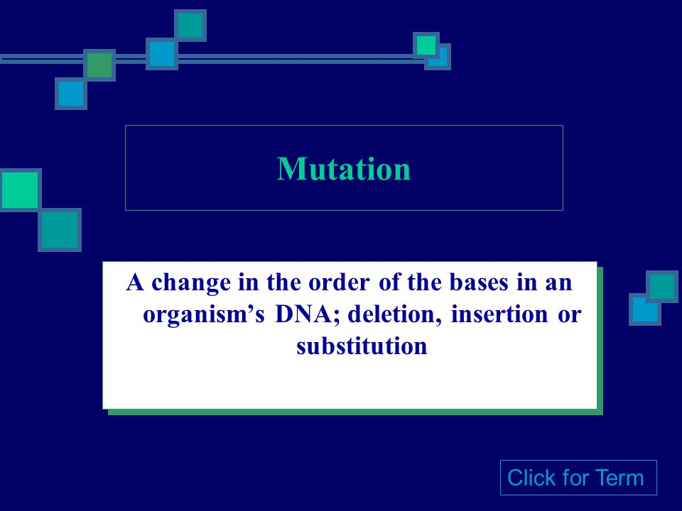 Mutation A change in the order of the bases in an organism's DNA; deletion, insertion or substitution.