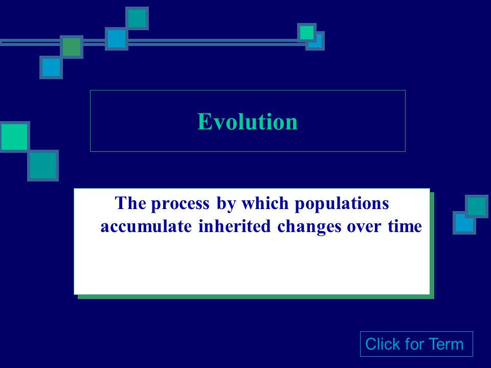 Evolution The process by which populations accumulate inherited changes over time Click for Term