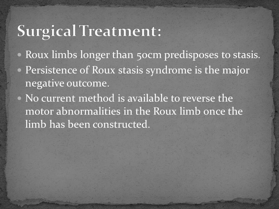 Surgical Treatment: Roux limbs longer than 50cm predisposes to stasis.