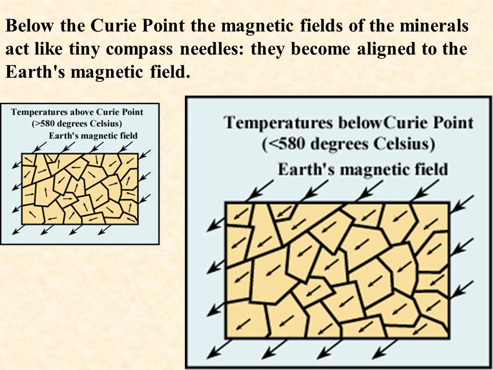 Below the Curie Point the magnetic fields of the minerals act like tiny compass needles: they become aligned to the Earth s magnetic field.