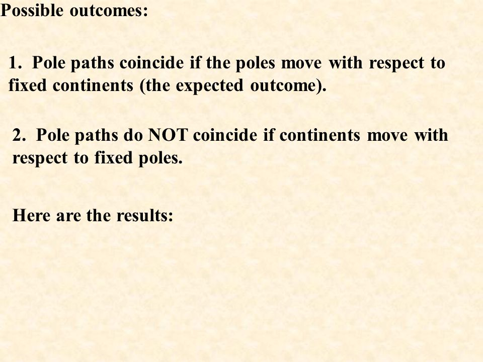 Possible outcomes: 1. Pole paths coincide if the poles move with respect to fixed continents (the expected outcome).