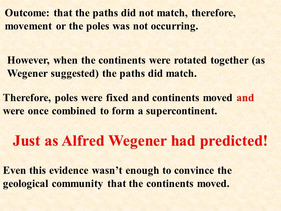Just as Alfred Wegener had predicted!
