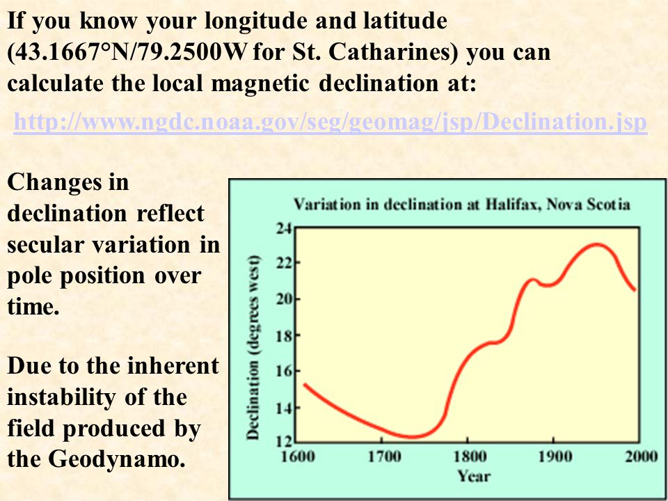 If you know your longitude and latitude (43. 1667°N/79. 2500W for St