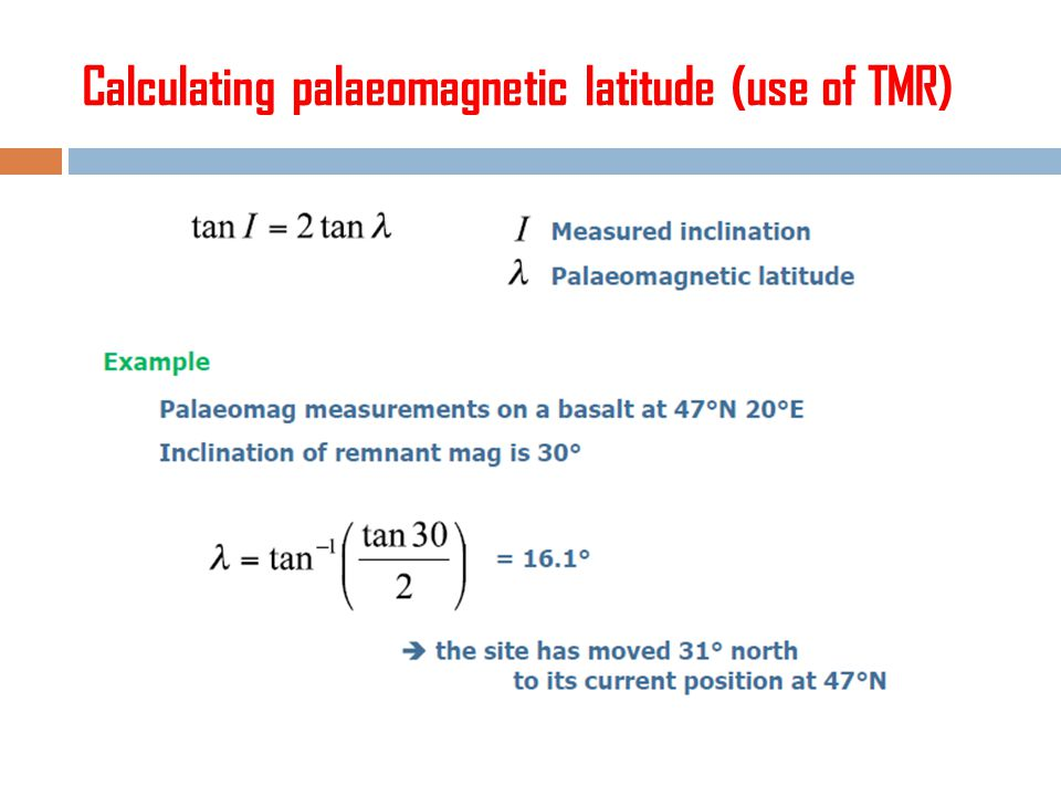 Calculating palaeomagnetic latitude (use of TMR)