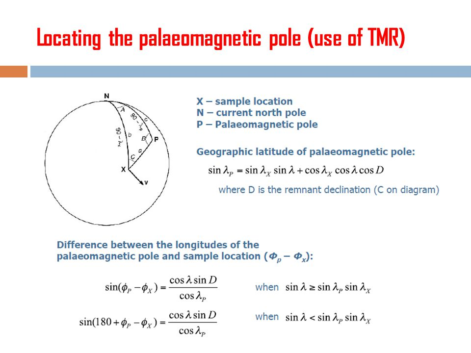 Locating the palaeomagnetic pole (use of TMR)