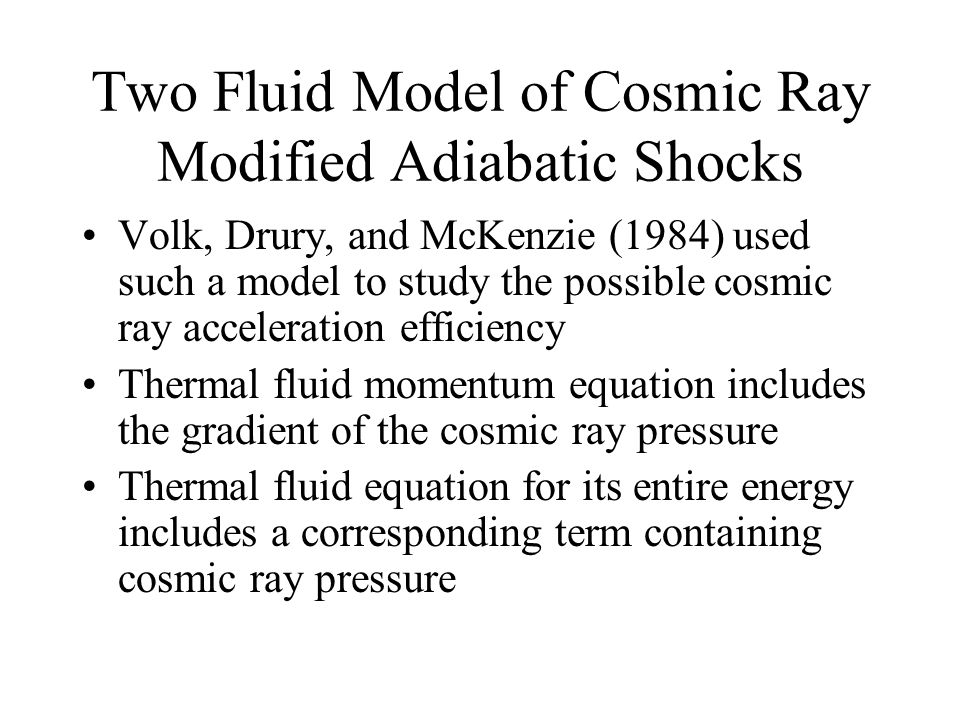 Two Fluid Model of Cosmic Ray Modified Adiabatic Shocks