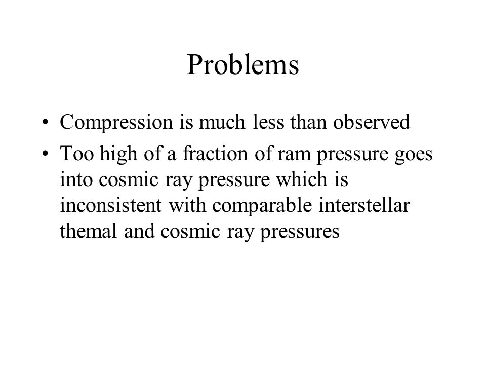Problems Compression is much less than observed