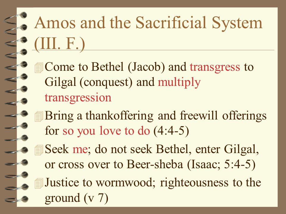 Amos and the Sacrificial System (III. F.)