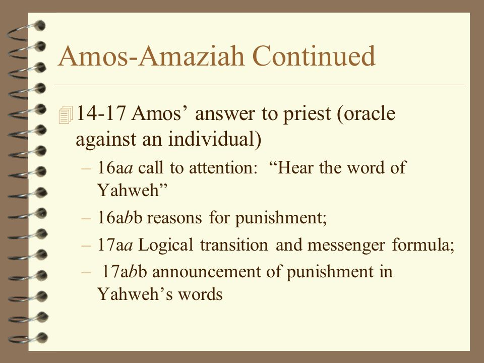 Amos-Amaziah Continued