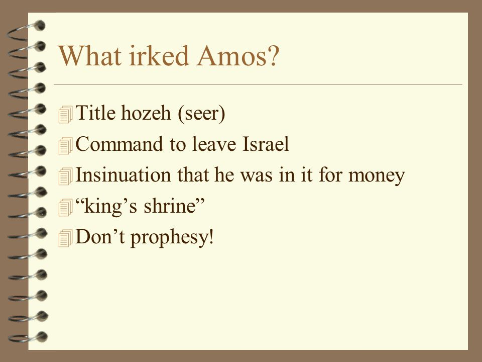 What irked Amos Title hozeh (seer) Command to leave Israel