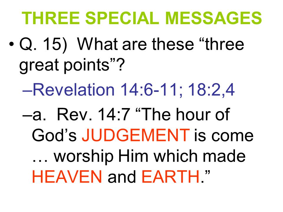 THREE SPECIAL MESSAGES