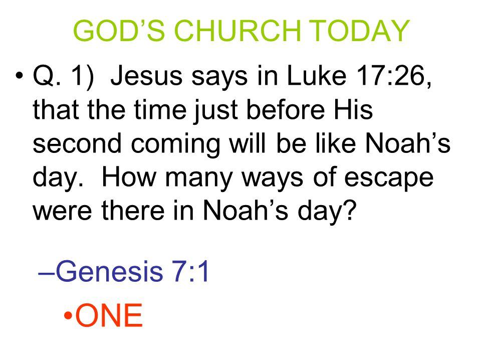 ONE GOD'S CHURCH TODAY Genesis 7:1