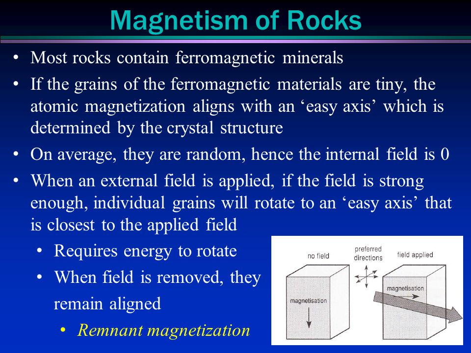 Magnetism of Rocks Most rocks contain ferromagnetic minerals