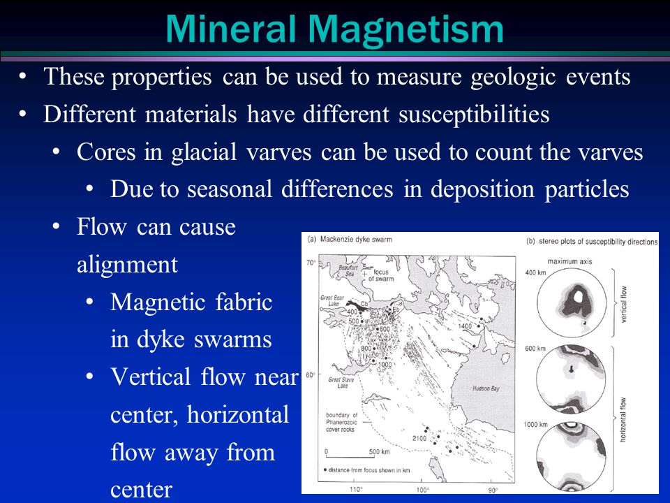 Mineral Magnetism These properties can be used to measure geologic events. Different materials have different susceptibilities.