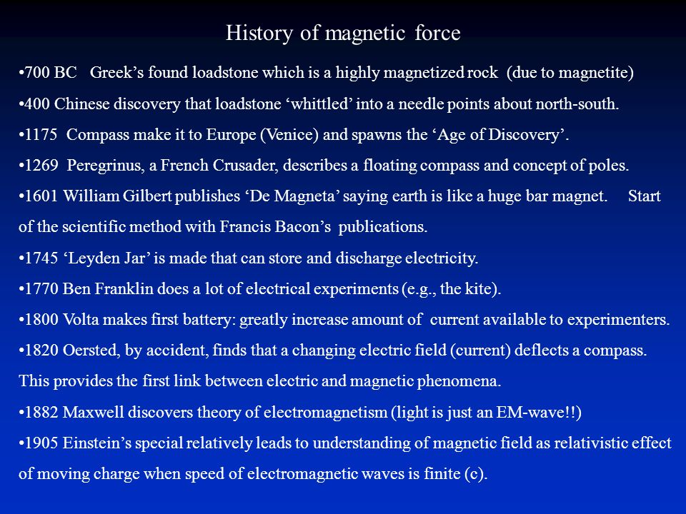 History of magnetic force