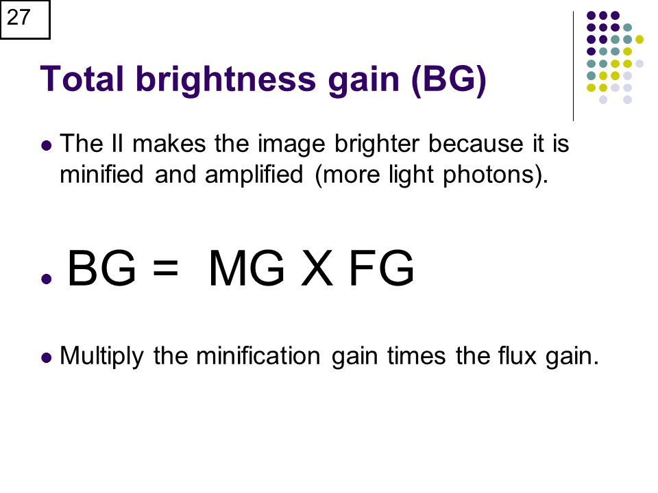 Total brightness gain (BG)