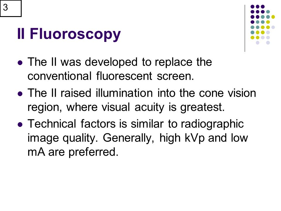 II Fluoroscopy The II was developed to replace the conventional fluorescent screen.