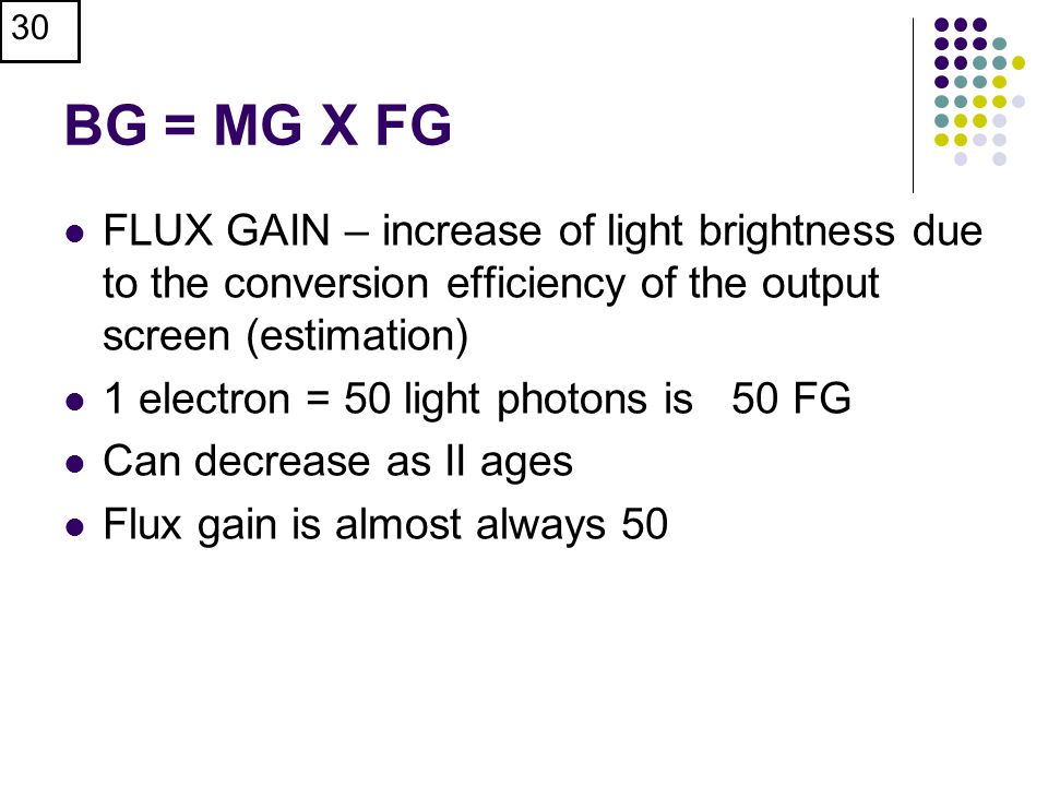 BG = MG X FG FLUX GAIN – increase of light brightness due to the conversion efficiency of the output screen (estimation)