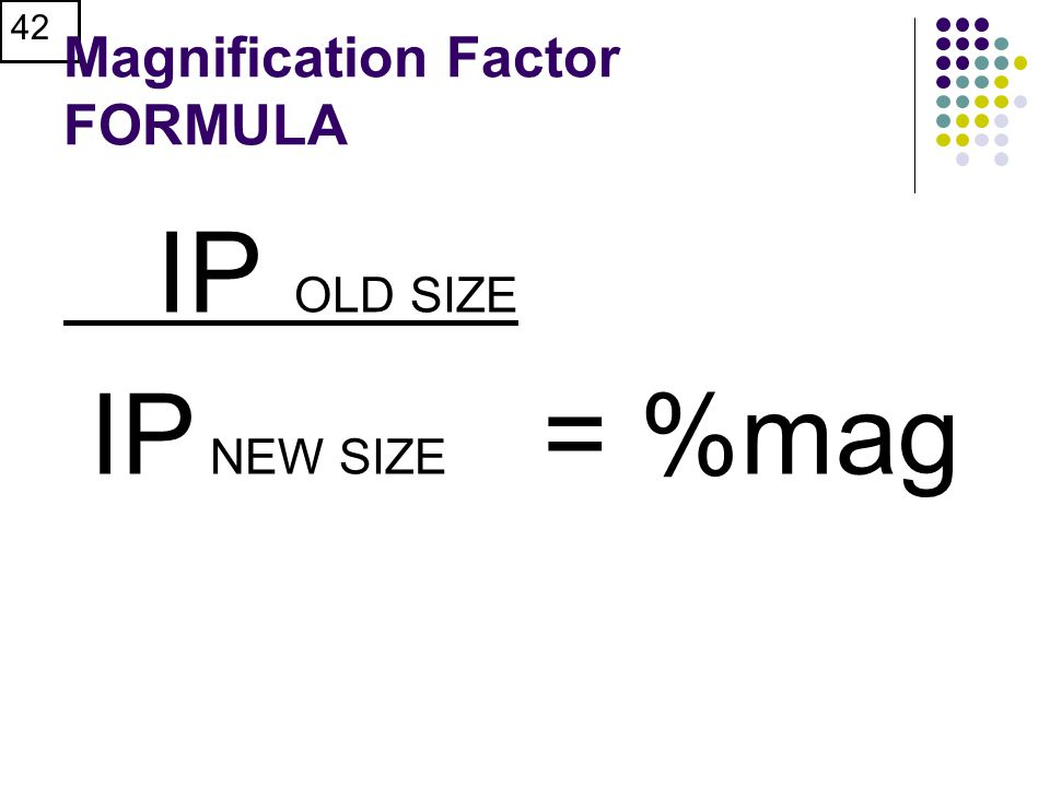 Magnification Factor FORMULA