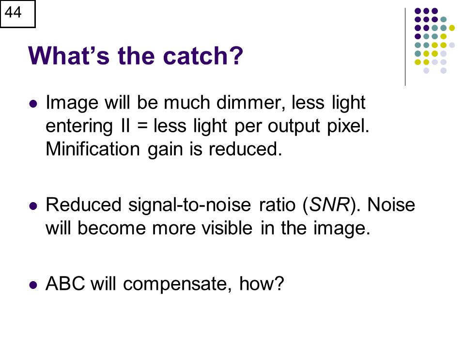 What's the catch Image will be much dimmer, less light entering II = less light per output pixel. Minification gain is reduced.