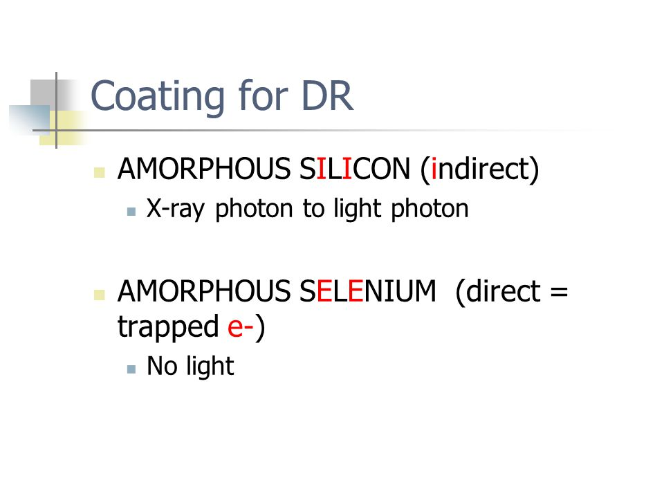Coating for DR AMORPHOUS SILICON (indirect)