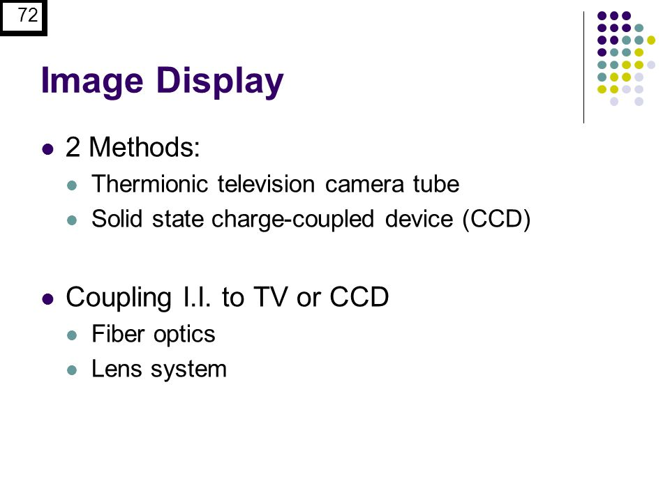 Image Display 2 Methods: Coupling I.I. to TV or CCD